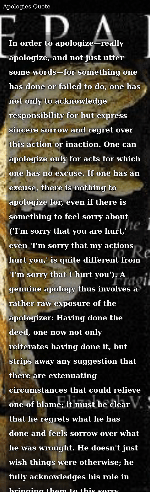 In Order to Apologize—really Apologize and Not Just Utter Some Words
