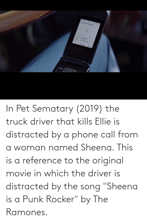 "Phone, Movie, and Song: In Pet Sematary (2019) the truck driver that kills Ellie is distracted by a phone call from a woman named Sheena. This is a reference to the original movie in which the driver is distracted by the song ""Sheena is a Punk Rocker"" by The Ramones."