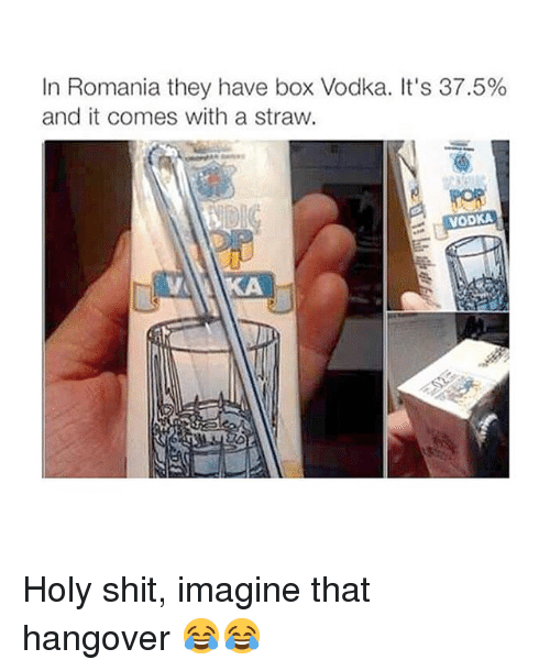 Memes, Shit, and Hangover: In Romania they have box Vodka. It's 37.5%  and it comes with a straw.  VODKA Holy shit, imagine that hangover 😂😂