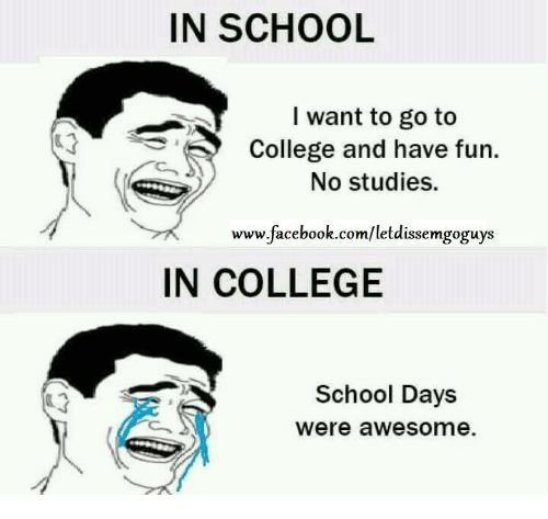 Memes, 🤖, and School Days: IN SCHOOL  I want to go to  College and have fun.  No studies.  www.facebook.com/letdissemgoguys  IN COLLEGE  School Days  Were awesome