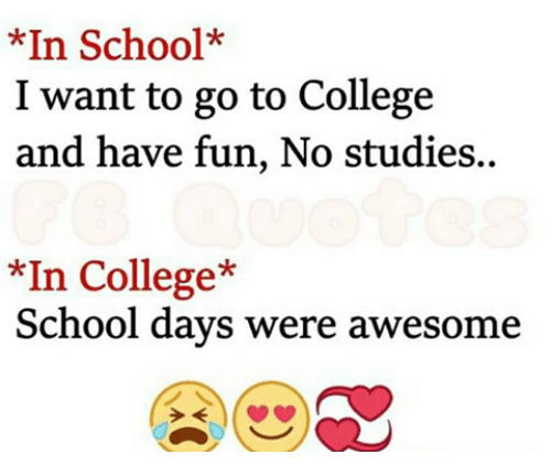 College, Memes, and School: *In School*  I want to go to College  and have fun, No studies..  *In College*  School days were awesome