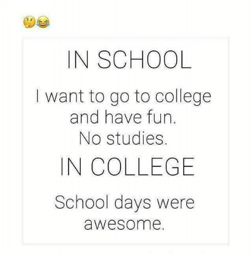 College, Memes, and School: IN SCHOOL  I want to go to college  and have fun  No studies.  IN COLLEGE  School days were  awesome.