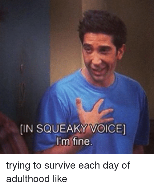 in squeaky voice im fine trying to survive each day 24265257 in squeaky voice i'm fine trying to survive each day of adulthood