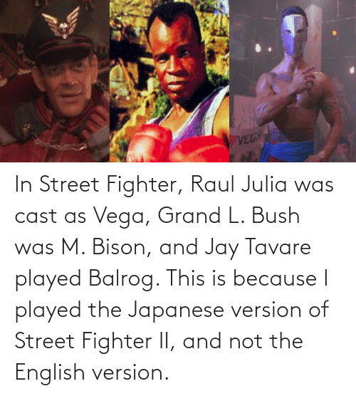 In Street Fighter Raul Julia Was Cast As Vega Grand L Bush Was M Bison And Jay Tavare Played Balrog This Is Because I Played The Japanese Version Of Street Fighter Ii