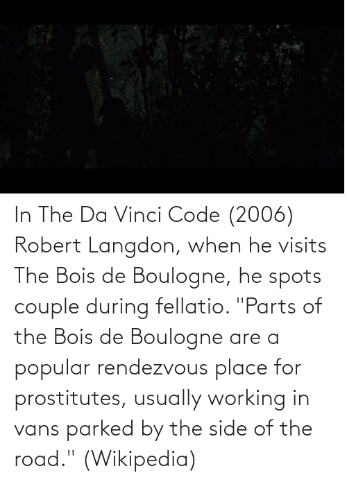 """Wikipedia, Vans, and The Road: In The Da Vinci Code (2006) Robert Langdon, when he visits The Bois de Boulogne, he spots couple during fellatio. """"Parts of the Bois de Boulogne are a popular rendezvous place for prostitutes, usually working in vans parked by the side of the road."""" (Wikipedia)"""