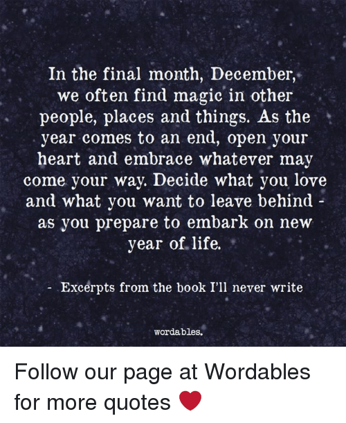 in the final month we often magic in other people