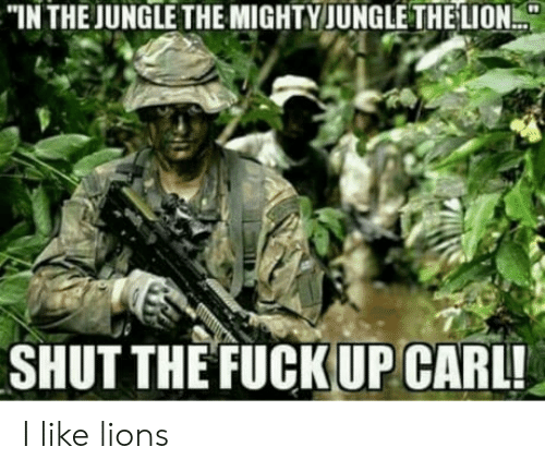 Lion, Lions, and Mighty: IN THE JUNGLE THE MIGHTY JUNGLE THE LION  SHUT THE FUCKUP CARL! I like lions