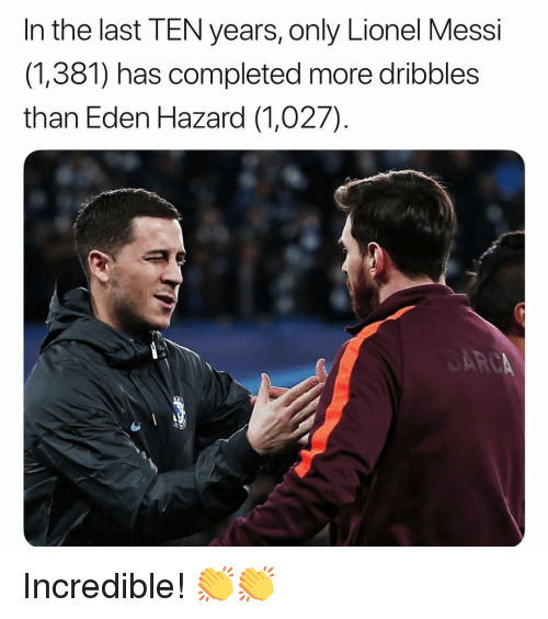 Memes, Lionel Messi, and Messi: In the last TEN years, only Lionel Messi  (1,381) has completed more dribbles  than Eden Hazard (1,027) Incredible! 👏👏