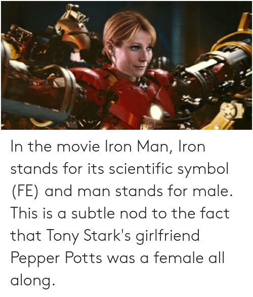 In the Movie Iron Man Iron Stands for Its Scientific Symbol
