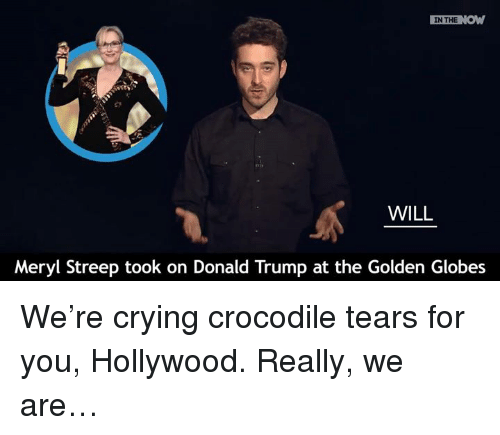 Golden Globes, Memes, and Meryl Streep: IN THE  NOW  WILL  Meryl Streep took on Donald Trump at the Golden Globes We're crying crocodile tears for you, Hollywood.   Really, we are…