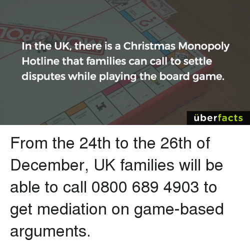 In The Uk There Is A Christmas Monopoly Hotline That Families Can