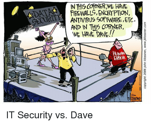 IT Rage, Software, and Human: IN THIS COTNER WE HAVE  FIREWALL, ENCRIPTIO,  ANTIVIRUS SOFTWARE, ETC.  AND IN THIS CORNER,  WE HAVE DAVE!!  GECUR  HUMAN  ERROR IT Security vs. Dave