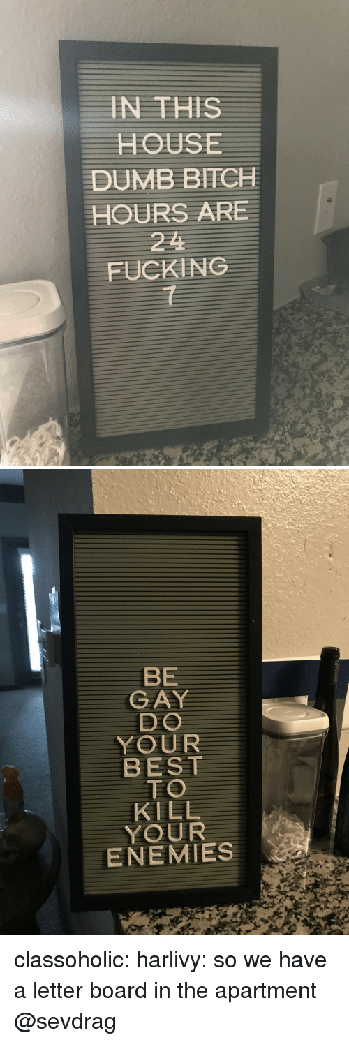 Bitch, Dumb, and Fucking: IN THISS  HOUSE  DUMB BITCH  HOURS ARE  221  FUCKING  1   BE  GAY  DO  YOUR  BEST  TO  KILL  YOUR  ENEMIES classoholic: harlivy: so we have a letter board in the apartment  @sevdrag