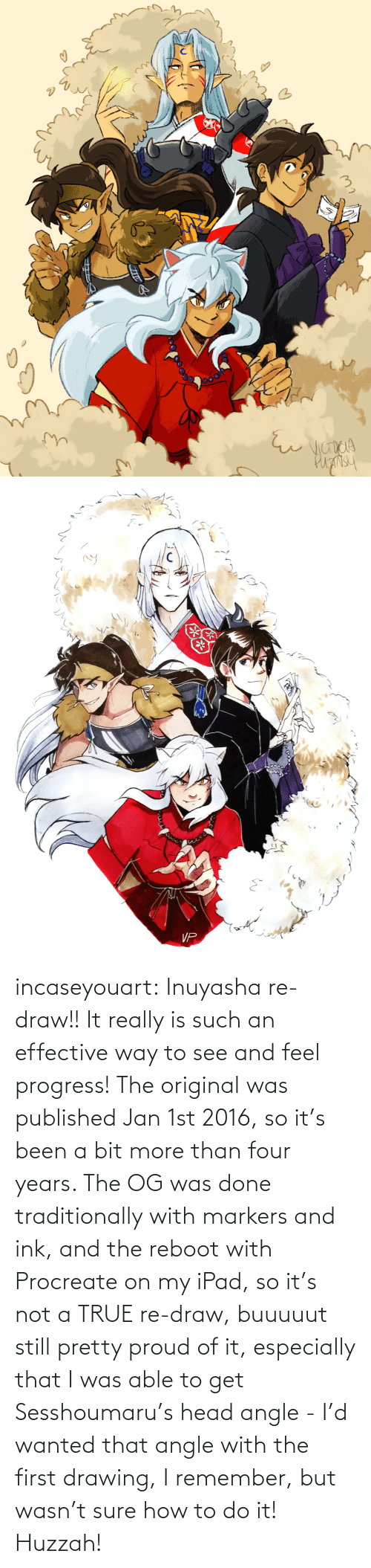 Head, Ipad, and Target: incaseyouart:  Inuyasha re-draw!! It really is such an effective way to see and feel progress! The original was published Jan 1st 2016, so it's been a bit more than four years. The OG was done traditionally with markers and ink, and the reboot with Procreate on my iPad, so it's not a TRUE re-draw, buuuuut still pretty proud of it, especially that I was able to get Sesshoumaru's head angle - I'd wanted that angle with the first drawing, I remember, but wasn't sure how to do it! Huzzah!