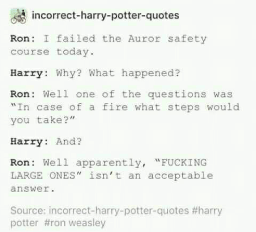 Incorrect Harry Potter Quotes Ron I Failed The Auror Safety