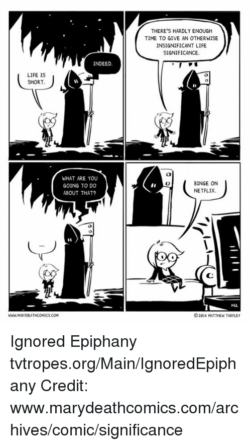 Memes, Epiphany, and 🤖: INDEED.  LIFE IS  SHORT.  WHAT ARE YOU  GOING TO DO  ABOUT THAT?  WWW.MARYDEATHCOMICS.COM  THERE'S HARDLY ENOUGH  TIME TO GIVE AN OTHERNISE  INSIGNIFICANT LIFE  SIGNIFICANCE.  BINGE ON  NETFLIX.  OOD  2014 MATTHEW TARPLEY Ignored Epiphany tvtropes.org/Main/IgnoredEpiphany Credit: www.marydeathcomics.com/archives/comic/significance