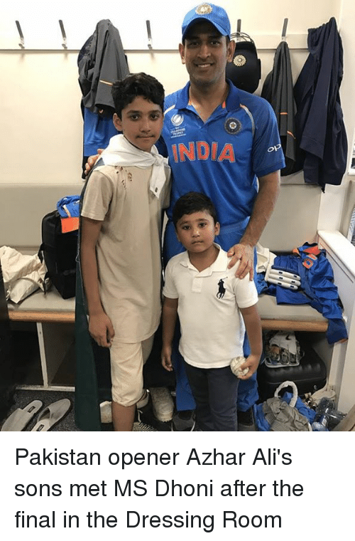 Memes, India, and Pakistan: INDIA Pakistan opener Azhar Ali's sons met MS Dhoni after the final in the Dressing Room