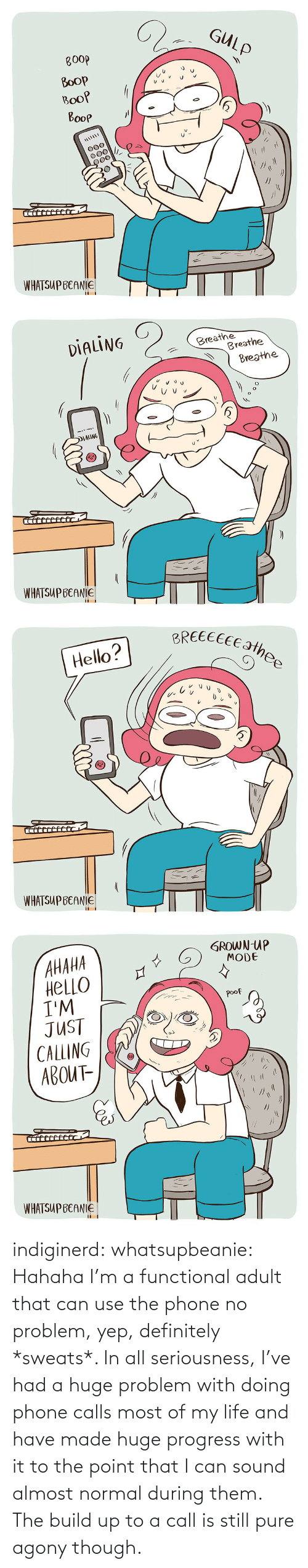Definitely, Life, and Phone: indiginerd: whatsupbeanie: Hahaha I'm a functional adult that can use the phone no problem, yep, definitely *sweats*. In all seriousness, I've had a huge problem with doing phone calls most of my life and have made huge progress with it to the point that I can sound almost normal during them. The build up to a call is still pure agony though.