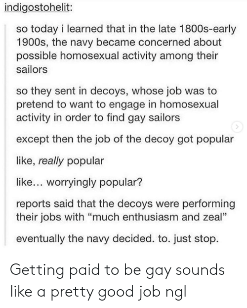 "Good, Jobs, and Navy: indigostohelit:  so today i learned that in the late 1800s-early  1900s, the navy became concerned about  possible homosexual activity among their  sailors  so they sent in decoys, whose job was to  pretend to want to engage in homosexual  activity in order to find gay sailors  except then the job of the decoy got popular  like, really popular  like... worryingly popular?  reports said that the decoys were performing  their jobs with ""much enthusiasm and zeal""  eventually the navy decided. to. just stop. Getting paid to be gay sounds like a pretty good job ngl"