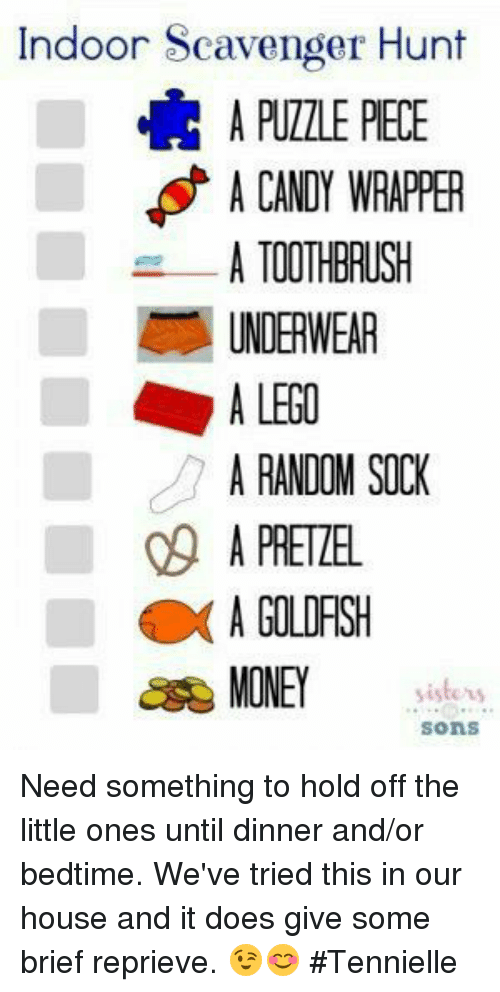 Goldfish Memes And Hunting Indoor Scavenger Hunt A Candy Wrer Toothbrush Underwear