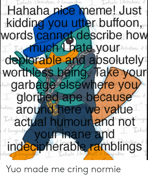 Meme, Normie, and Nice: Infinite Lustrations of Imaginatieon  Iofinite Liustrations of  Hahaha nice meme! Just  kidding you utter buffoon,  words cannet describe how  muchbate yourhn&1  Lnimi  deplorable and absolutely  rat  worthless being, Take your  garbage elsewhere you  gloriied ape because  Finite  around here we value  Infin  Laactual humour and notng  rations  4 IngintVOurinane and La  indecipherable ramblings  kHutestions of  ration of Imagina  Infinite Lushions of ination Yuo made me cring normie