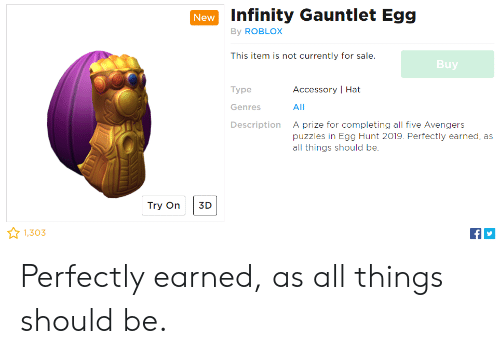 Infinity Gauntlet Egg By Roblox New This Item Is Not Currently For