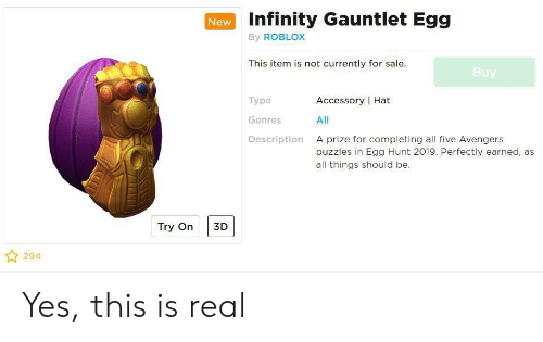 Infinity Gauntlet Egg New By Roblox This Item Is Not Currently For