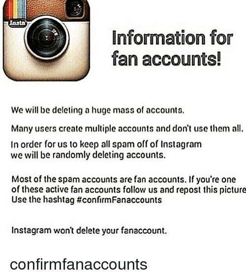 Information for fan accounts we will be deleting a huge mass of instagram memes and information information for fan accounts we will be deleting ccuart Images