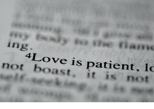 Patient, Ing, and Boast: ing  4Love is patient, lo  not boast. it is not