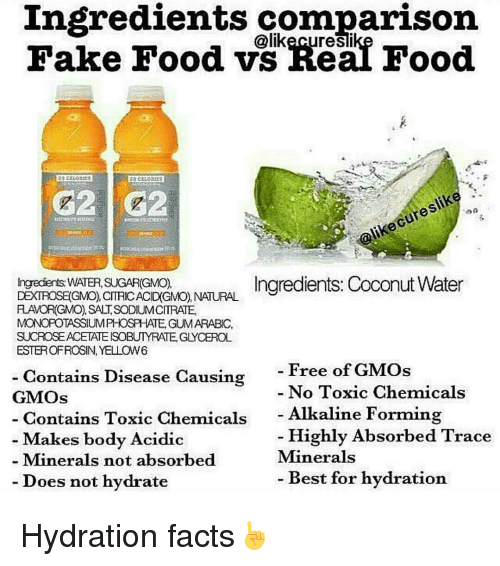 Memes Sugar And Coconut Water Ingredients Comparison Likecuresli 20 CALORIES Do A