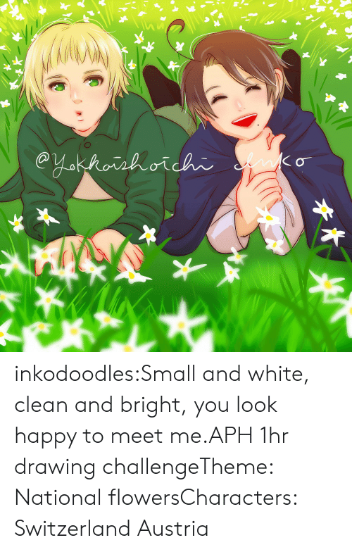 Target, Tumblr, and Blog: inkodoodles:Small and white, clean and bright, you look happy to meet me.APH 1hr drawing challengeTheme: National flowersCharacters: Switzerland  Austria
