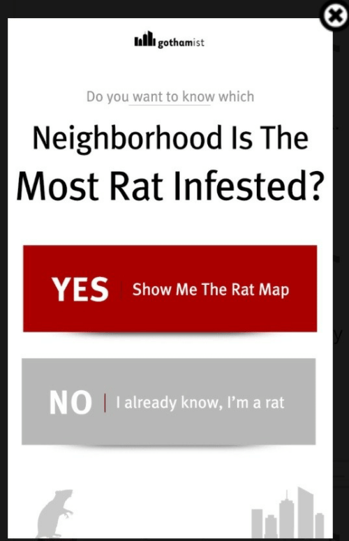 Yes, Map, and Rat: Inli gothamist  Do you want to know which  Neighborhood Is The  Most Rat Infested?  YES  show Me The Rat Map  NO I I already know, I'm a rat