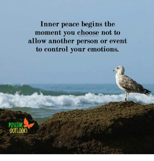 Memes, Control, and Outlook: Inner peace begins the  moment you choose not to  allow another person or event  to control your emotions.  OUTLOOK