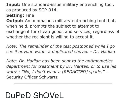 Input One Standard-Issue Military Entrenching Tool as Produced by