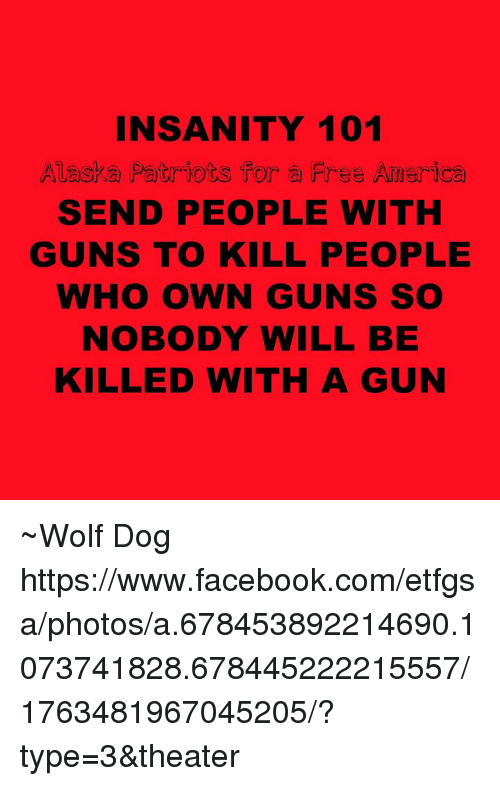 America, Facebook, and Guns: INSANITY 101  Alaska Patriots for a Free America  SEND PEOPLE WITH  GUNS TO KILL PEOPLE  WHO OWN GUNS SO  NOBODY WILL BE  KILLED WITH A GUN ~Wolf Dog  https://www.facebook.com/etfgsa/photos/a.678453892214690.1073741828.678445222215557/1763481967045205/?type=3&theater