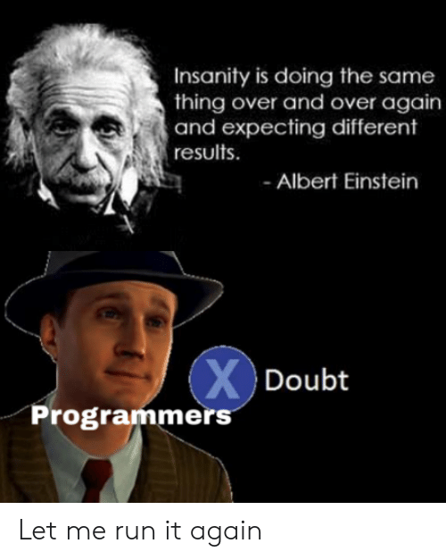 Albert Einstein, Run, and Einstein: Insanity is doing the same  thing over and over again  and expecting different  results  Albert Einstein  XDoubt  Programmers Let me run it again