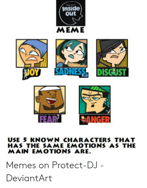 Inside Out Meme Joy Sadness Disgust Fear Anger Use 5 Known Characters That Has The Same Emotions As The Main Emotions Are Memes On Protect Dj Deviantart Inside Out Meme On