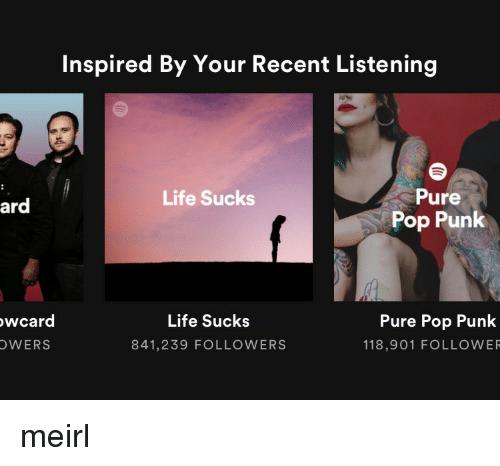 Life, Pop, and Pop Punk: Inspired By Your Recent Listening  Pure  Pop Punk  Life Sucks  ard  wcard  OWERS  Life Sucks  841,239 FOLLOWERS  Pure Pop Punk  118,901 FOLLOWER meirl