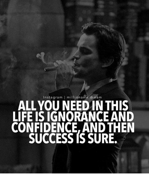 Confidence, Life, and Memes: Insta gram I millionaire dream  ALL YOU NEED IN THIS  LIFE IS IGNORANCE AND  CONFIDENCE, AND THEN  SUCCESS IS SURE.