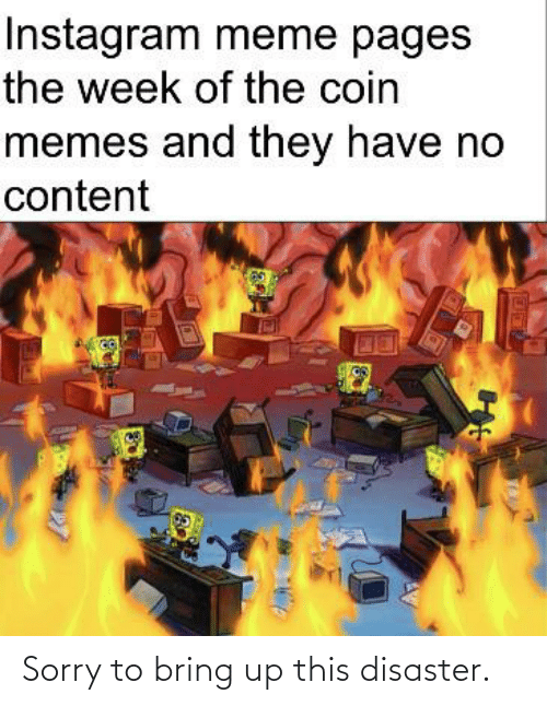 Instagram, Meme, and Memes: Instagram meme pages  the week of the coin  memes and they have no  content Sorry to bring up this disaster.