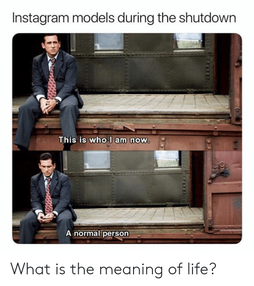 Instagram, Life, and Meaning: Instagram models during the shutdown  This is who l am now  A normal person What is the meaning of life?