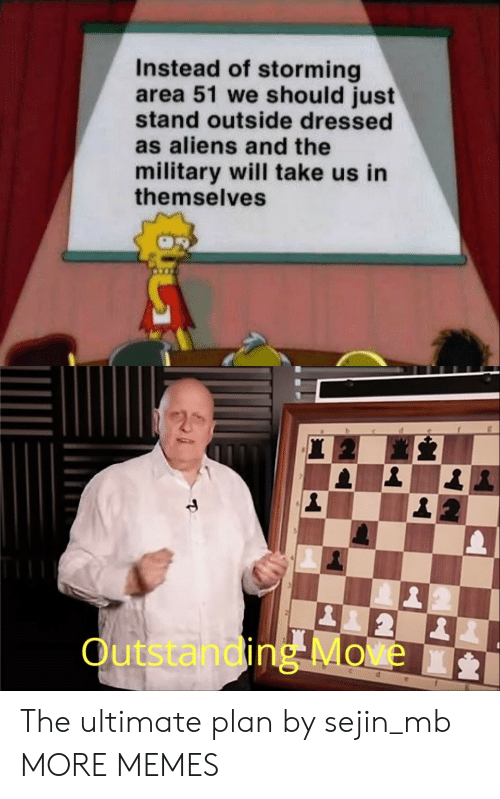 Dank, Memes, and Target: Instead of storming  area 51 we should just  stand outside dressed  as aliens and the  military will take us in  themselves  2  Outstanding Move  d The ultimate plan by sejin_mb MORE MEMES