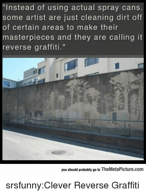 "Graffiti, Tumblr, and Blog: ""Instead of using actual spray cans  some artist are just cleaning dirt off  of certain areas to make their  asterpieces and they are calling it  reverse graffiti.""  you should probably go to TheMetaPicture.com srsfunny:Clever Reverse Graffiti"