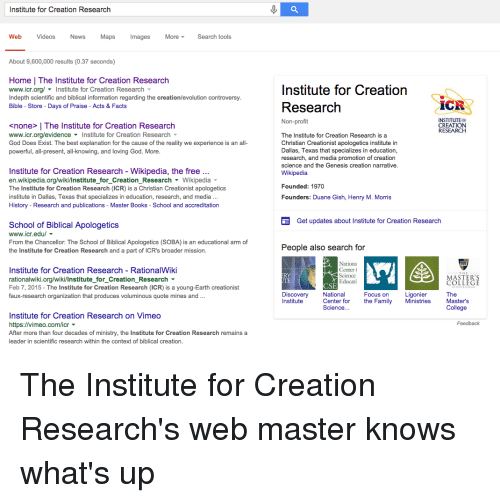 institute for creation research web videos news maps more search