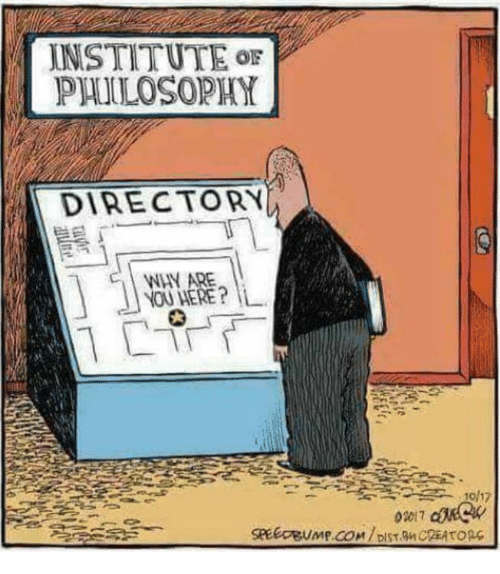 Memes, Philosophy, and 🤖: INSTITUTE or  PHILOSOPHY  DIRECTORY  WHY ARE  NOU HERE?L  0017  SPEEOBUMP.COM/DIST.MCREATopc