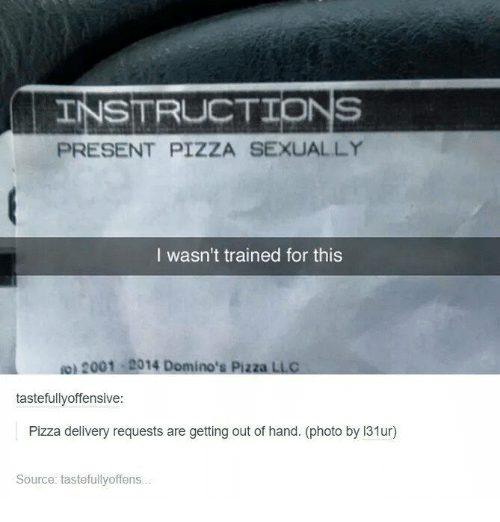 Instructions Present Pizza Sexually I Wasnt Trained For This Ion