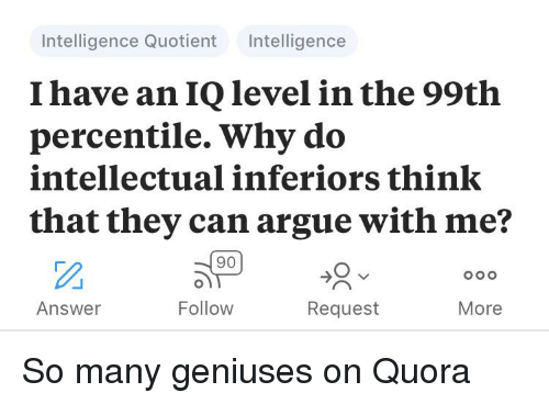 Intelligence Quotient Intelligence I Have an IQ Level in the 99th