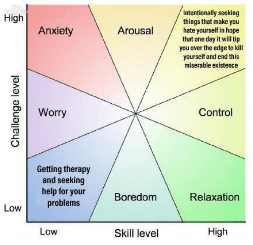 Control, Anxiety, and Help: Intentionally seeking  things that make you  hate yourself in hope  that one day it will tip  you over the edge to kill  yourself and end this  miserable existence  High  Anxiety  Arousal  2Worry  Control  Getting therapy  and seeking  help for yourBoredom  0  Relaxation  problems  Low  Low  Skill level  High