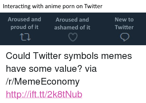 "Anime, Memes, and Twitter: Interacting with anime porn on Twitter  Aroused and  proud of it  Aroused and  ashamed of it  New to  Twitter <p>Could Twitter symbols memes have some value? via /r/MemeEconomy <a href=""http://ift.tt/2k8tNub"">http://ift.tt/2k8tNub</a></p>"
