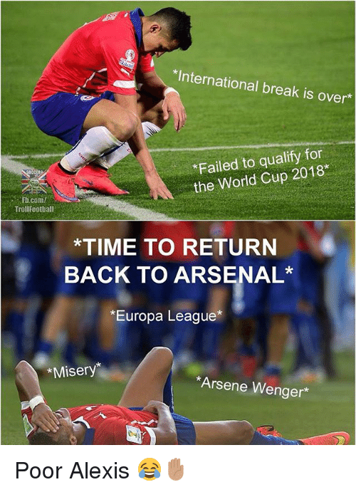 Arsenal, Memes, and World Cup: *International break is over  Failed to qualify for  the World Cup 2018  .. . Fti.com/  Trollfootball  *TIME TO RETURN  BACK TO ARSENAL  *Europa League*  *Misery  Arsene Wenger* Poor Alexis 😂✋🏽